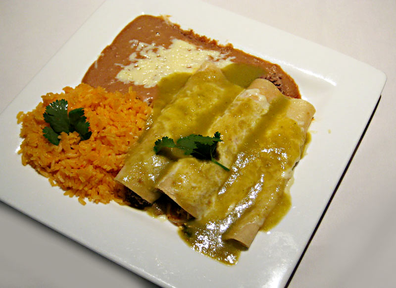 Enchilada Verde Dinner with Rice and Beans