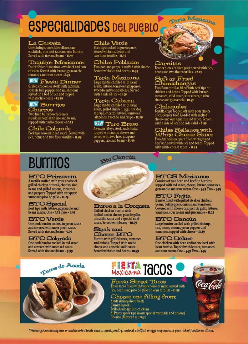 Special Dinners Burritos Tacos